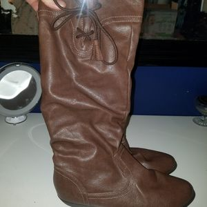 Shoes - Brown knee high boots with tie and tassel